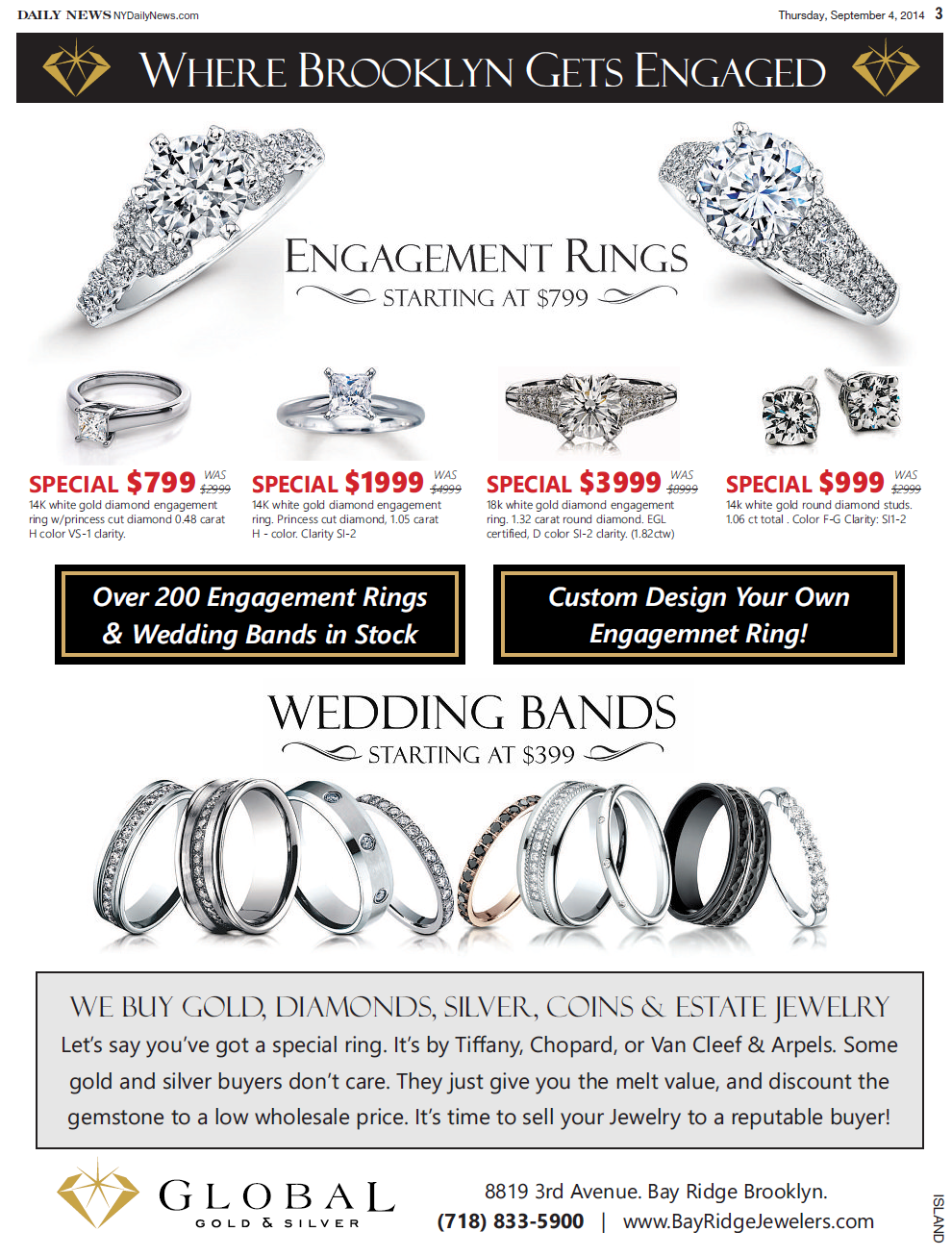 Engagement rings and wedding bands sale